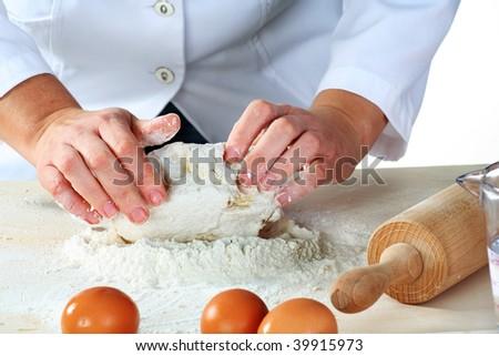 making dough for tasty baked goods - stock photo