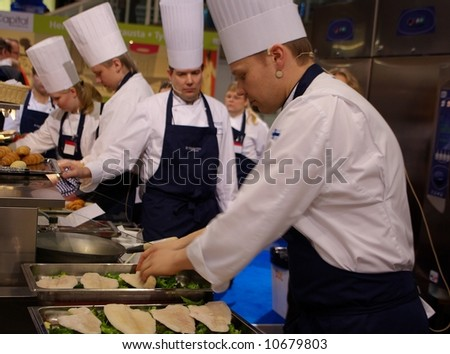 Making food cooking show - stock photo