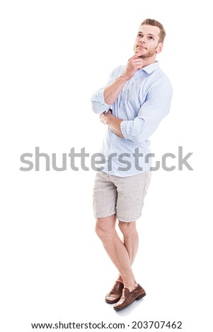 Making important decisions - Full length portrait of a young man thinking, isolated on white background - stock photo