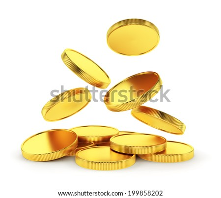 Making money, business success, finance, wealth, casino winning and jackpot concept: golden falling coins isolated on white background - stock photo