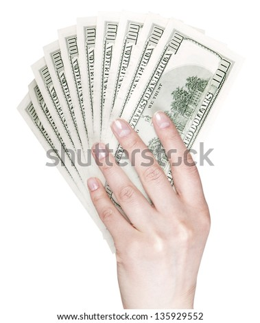 making money concept - human hand with money american hundred dollar bills isolated