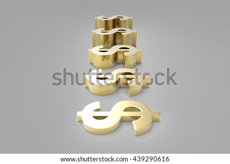 Making Money / Dollar Currency in Gold / 3D Rendering