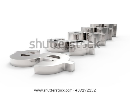 Making Money / Dollar Currency in Silver/ 3D Rendering