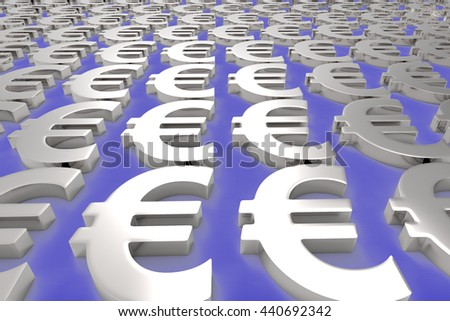 Making Money / Euro Currency in Silver / 3D Rendering
