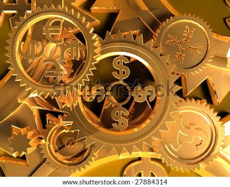 Making Money (gold backgrounds) - stock photo