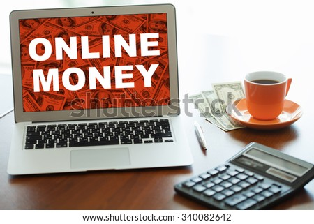 making money online. Business, technology, internet and networking concept.