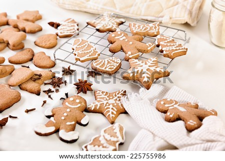 Making Of Gingerbread Christmas Cookies - stock photo