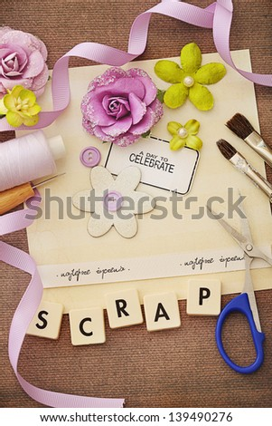 making of scrapbook greeting card - stock photo