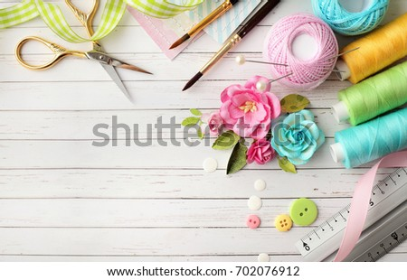 Making scrapbook greeting card tools on stock photo royalty free making of scrapbook greeting card tools on desk m4hsunfo