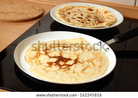 Making Pancake, Crepes - stock photo