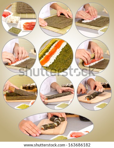 Making rolled sushi collage - stock photo
