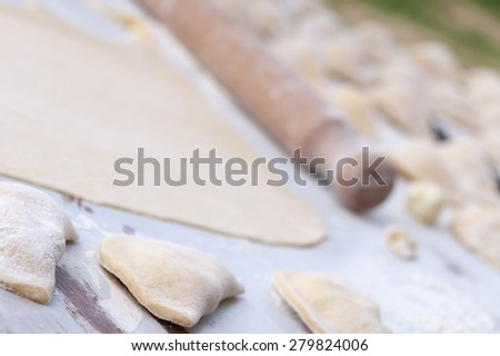 Making traditional russian food pierogy - stock photo
