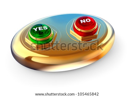 making your choice by dint of golden control ballot panel with two buttons YES and NO for electronic voting - stock photo