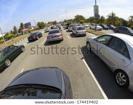 Malacca - FEBRUARY 1: Massive traffic jam during festive season on January 1, 2014 in Malacca Malaysia.  - stock photo