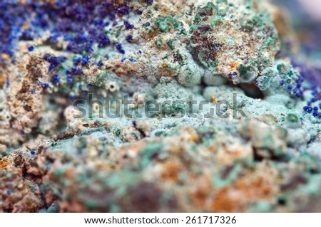 Malachite is a copper carbonate hydroxide mineral, with the formula Cu2CO3(OH)2. Green banded mineral crystallizes in the monoclinic crystal system. Macro.  - stock photo