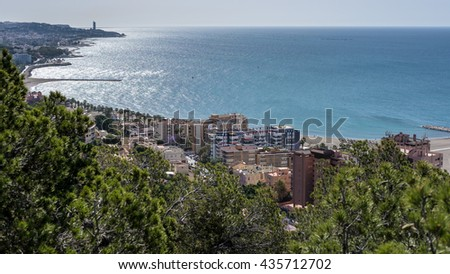 MALAGA, ANDALUCIA/SPAIN - MAY 25 : Skyline View of Malaga and the Sea in Spain on May 25, 2016 - stock photo