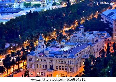 Malaga Andalusia Spain - view from the roof of building