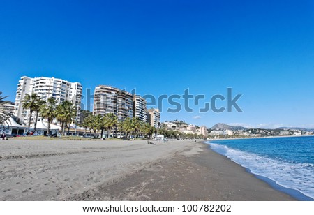 Malaga Beach and City - Spain - stock photo