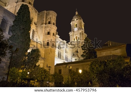 Malaga Cathedral at night under floodlight