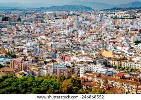 Malaga cityscape. Andalusia, Spain - stock photo