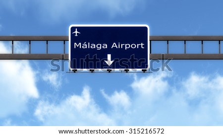 Malaga Spain Airport Highway Road Sign 3D Illustration