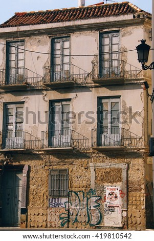 MALAGA, SPAIN - CIRCA MARCH 2015: An old, abandoned building with very nice wall textures in Malaga (Spain)