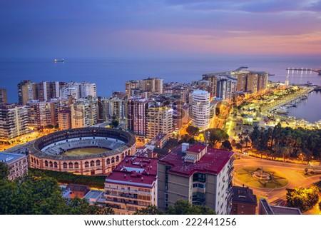 Malaga, Spain cityscape on the Mediterranean. - stock photo