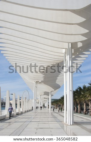 MALAGA, SPAIN - JANUARY 19: Malaga port on January 19, 2016 in Malaga, Spain. It is the second most populous city of Andalusia.  - stock photo