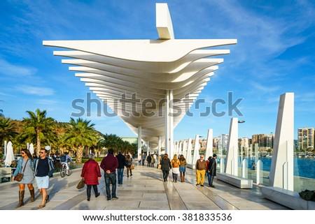 MALAGA, SPAIN - JANUARY 23: Palmeral de las sorpresas (Malaga port) in January 23, 2016 in Malaga, Spain  - stock photo