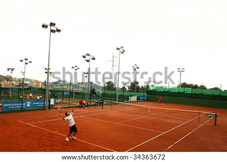 MALAGA, SPAIN – JANUARY 11 : View of Malaga Tennis Club during the final match of the 1st round of the Nike Junior Tennis Tour tournament January 11, 2009 in Malaga, Spain. - stock photo