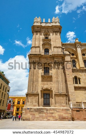 MALAGA,SPAIN - 28 MAY 2016:View on Malaga cathedral in a sunny day - stock photo