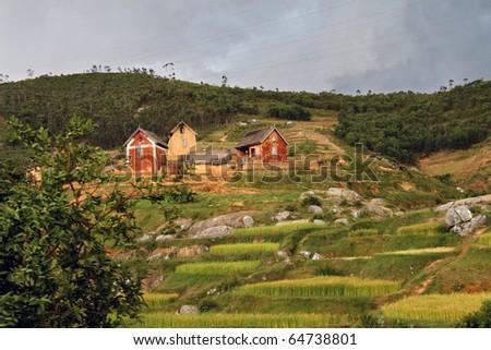 Malagasy farm: little farm in central Madagascar under a cloudy sky. - stock photo