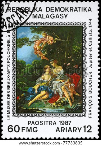 "MALAGASY REPUBLIC - CIRCA 1987: A Stamp printed in MALAGASY REPUBLIC shows  ""Jupiter and Callisto"" (1744), by Boucher (1703-1770), from the series ""Paintings in the Pushkin Museum, Moscow"", circa 1987"