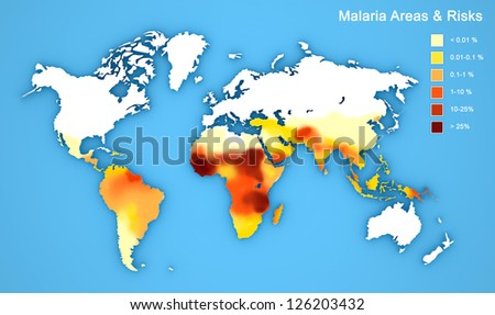 Malaria map disease spread. - stock photo