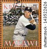 MALAWI - CIRCA 2007: A stamp printed in Malawi dedicated to greatest baseball players, shows Ted Williams, circa 2007 - stock photo