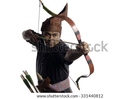 Malay archer with bow and arrows in traditional malay warrior costume isolated on white background - stock photo