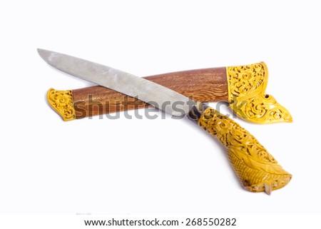 malay art knife on isolated background - stock photo