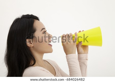malay woman using megaphone on the white background