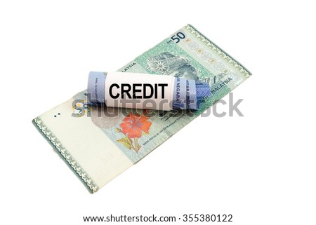 Malaysia banknote with word CREDIT isolated on white background