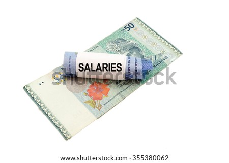 Malaysia banknote with word SALARIES isolated on white background