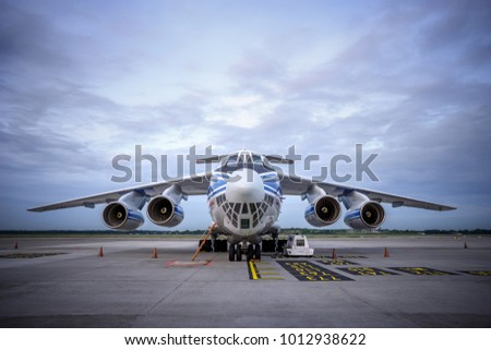 MALAYSIA, KUALA LUMPUR INTERNATIONAL AIRPORT-January 29 2018, The largest cargo plane model  Il-76TD-90 RA-76950 Volga-dnepr has landed here to delivery of the next cargo.