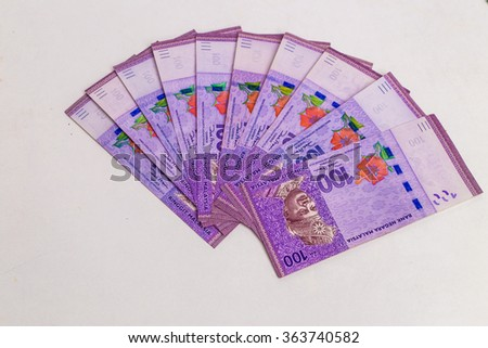 Malaysia ringgit currency on white background - stock photo