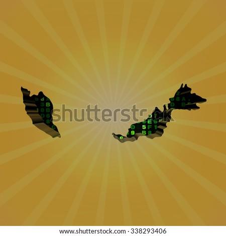 Malaysia sunburst map with hex code illustration - stock photo