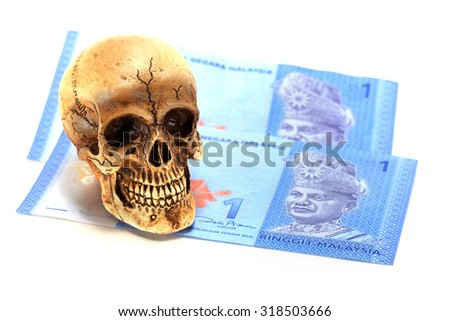Malaysian banknotes and Skull - stock photo