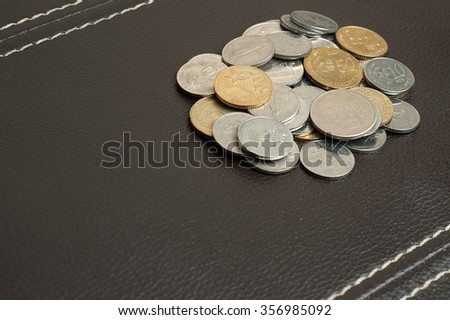 Malaysian coins on classic leather bacground with copy space on lower left. - stock photo