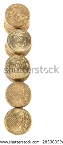 Malaysian coins over white background