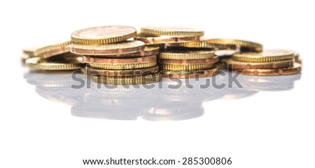 Malaysian coins over white background - stock photo