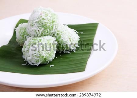 Malaysian Kuih pastry, Onde-Onde or Buah Melaka - stock photo