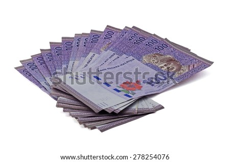 Malaysian ringgit isolated on white background - stock photo