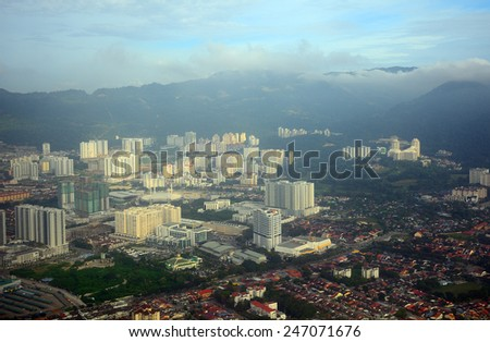 MALAYZIA, KUALA LUMPUR - January 7: Aerial view of Georgetown at January 7, 2015 in Malaysia, Kuala Lumpur. Georgetown is the capital of Penang state. - stock photo